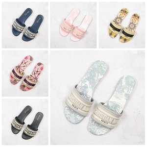 B23 d'or DWAY MULE tela di Jouy ricamo dei sandali Stripes fioriture diapositive all'aperto infradito mocassini Womens pantofole donne Scuffs Slides