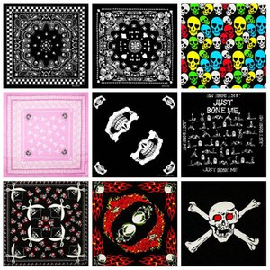 Fashion Hip Hop 100% Cotton Skull Bandana Square Scarf Kerchief Black Paisley Bicycle Headband Printed For Women Men Boys Girls