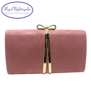 여자 파티 댄스 파티 빨간색 녹색 노란색 Q1113 로얄 나이팅게일 나비 넥타이 상자 클러치 핑크 스웨이드 가방 및 저녁 핸드백