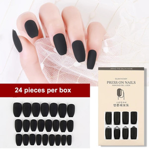 24pcs Matte False Nail Artificial Nail Tips Full Cover for Decorated Design Press On Nails Art Fake Extension Tips With Glue 0327