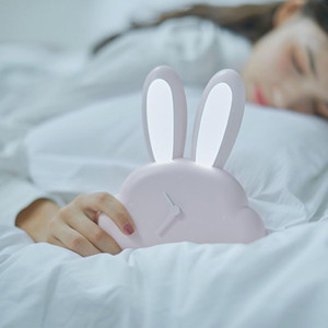 Lovely USB Charging Cartoon Rabbit LED Human Body Induction Clock Night Light For Bedside Bedroom White   Blue