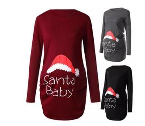 Trendy Top Tees For Pregnant Women Santa Claus Print Maternity Clothes New Year Christmas Pregnancy Shirt Tops Xmas Clothing