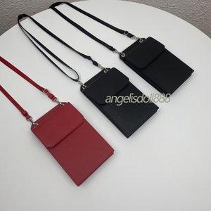 2021 새로운 패션 남자 핸드폰 가방 PRD Saffiano 정품 진짜 가죽 남자 전화 케이스 카드 홀더 명찰 가방 가슴 지갑 크로스 베이 가방에