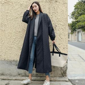 LANMREM New Street Thin Style Black Oversize Lapel Back Vent Button 2020 Females Long Cotton Coat Jaqueta Feminina WTH1201