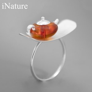 INATURE 925 Sterling Silver Natural Amber Teapot Open Ring For Women Jewelry 201112