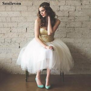 Smileven Короткие Пром платья с блестками Платье De Festa без рукавов длиной до колен тюль Официальные вечерние платья партии