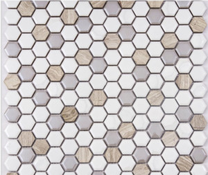 2021 hot sale Ceramic mosaic swimming pool hexagonal ceramic mosaic background porch bathroom background mosaic decorative painting GM016