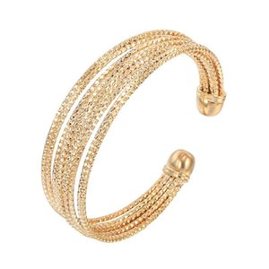 MxGxFam Bohemia Style Circle Bangles and Bracelets ( Openning ) for Women Retro Jewelry 18 k   Rose   White Gold Color