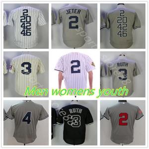 Kundenspezifische Männer Frauen Jugend 2 Derek Jeter Jersey 8 Yogi Berra Joe Dimaggio Lou Gehrig Babe Ruth Derek Jeter schwarz weiß Baseball Trikots