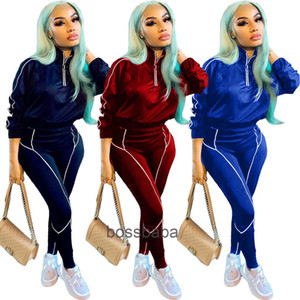 Women Tracksuit 2 Piece Set Designer Fashion Solid Long Sleeve Zipper Top Trousers Outfits Ladies Casual Solid Sports Suits Am11 823
