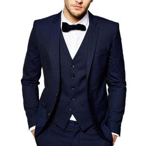 Navy Blue Wedding Groom Tuxedos for Slim Fit Prom Man Suit Business Party Men Suits Custom 3 Piece Jacket Vest Pants Male Set