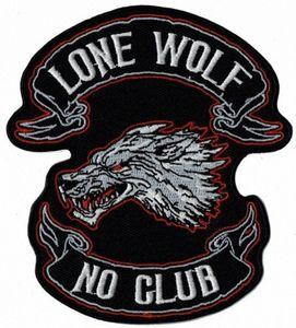 Новые УЕДИНЁННЫЙ WOLF NO CLUB Вышитые утюг на патч Мотоцикл Байкер Vest Rider Patch аппликация бейдж 11см * 10см Бесплатная доставка M56S #