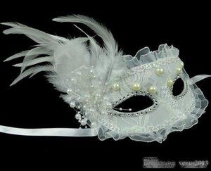 Dantel Maskeler Kostüm İnci Dekor Tüy Venetian Masquerade Maskesi Parti Kadın Topu Noel Düğün Bayanlar Performans Yan Dantel M Frbw Maske