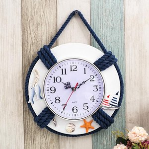 Life ring clock beach sea nautical theme boat decoration wall hanging decoration factory mediterranean ocean handmade WJ721