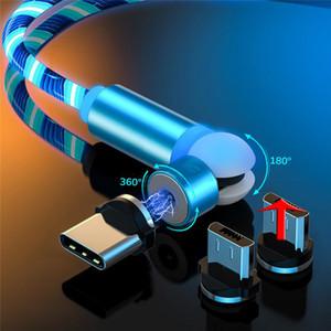 마그네틱 케이블 3 in 1 LED 흐르는 빛 2.4A 형 C 마이크로 USB 빠른 충전 540º 볼 모양 흐르는 빛 케이블 퀵 충전기 삼성
