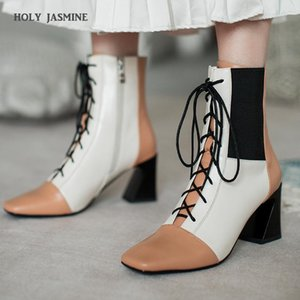 New Brand Autumn Shoes Fashion Square Toe Lace-up Genuine Leather Solid Nude Women Ankle Boots Thick Heel Shoes Causal Boots
