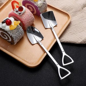 Stainless Steel Spoon Mini Shovel Shape Coffee Ice Cream Desserts Scoop Fruits Watermelon Square Spoons HHA1718