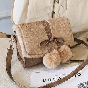 Pompom Bowknot Velvet Small velour women messenger bag designer Plush handbag Crossbody shoulder Hairy bag fashion solid handbag