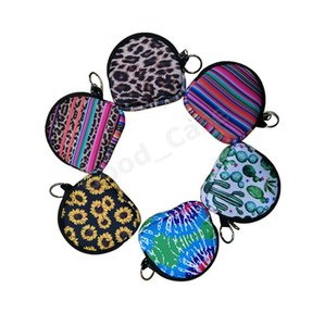 Неопрен Мини сумка маска держатель сумки Shell круглой формы Кошельки Цветочные Tie Dye Твердая маска для лица Тотализаторов Keychian Подвески NEW F102201