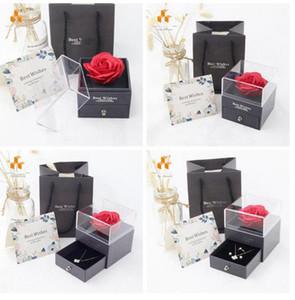 Rose Blume Schmuck Boxen Romantische Valentine Mutter Tag Halskette Ring Unsterbliche Blumenkasten Schmuck Boxen Geschenk Wickel Geburtstag Geschenkbox WMQ298