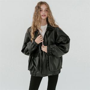 Lautaro негабаритная кожаная куртка женщин с длинным рукавом молния отключает воротник свободный черный плюс размер искусственных кожаных куртки для женщин 201226