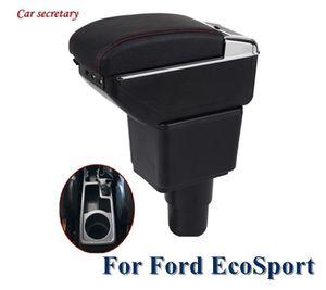 Black Armrest Box For EcoSport Universal Car Central Armrest Storage Box cup holder ashtray modification accessories