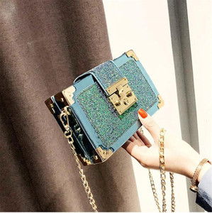 2021 New female bag Korean fashion sequined small suitcase cool fashion one-shoulder messenger bag charming chain small square bag girl