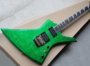 Unusual green 24-character electric guitar, rosewood fingerboard, flame maple veneer