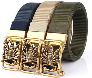 High Quality Outdoor Tactical Belt for Men Letter Canvas Nylon Multifunctional Magnetic Scorpion Animal Buckle Belt Military Training Belt