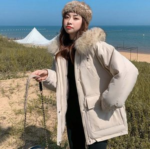 2020 Fashion Warm Cotton Padded Hooded Down Parkas Short Coat Winter Jacket Women Fur Collar Jacket Winter Coat Women