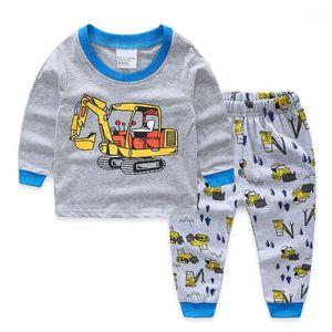 New Excavator Cartoon Boys Pjs Pijama Set Boy Clothes Spring Autumn Cotton Long Sleeve Children Pajamas Suit 2-7y1