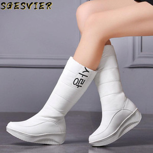 SGESVIER 3 Colors down snow boots women shoes South Korea style platform boots wedges mid calf female plush winter
