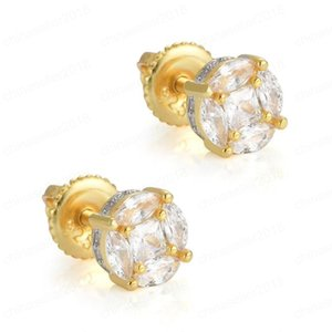 Hip Hop New Arrival Top Sell Vintage Jewelry 925 Sterling Silver&Gold Fill Pave White Sapphire CZ Diamond Party Women Stud Earring Gift