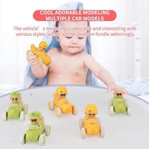 6pcs cartoon friction small fruit car baby pull and plush sliding toys cute banana for kids boy educational gift
