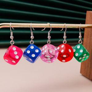 Cartoon 3D Dice Earrings for Women Creative Candy Color Minimalist Design Female Dangle Earrings Friendship Handmade Jewelry