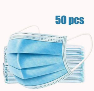 50Pcs Non Woven Thick 3-Layer Breathable Facial Masks with Adjustable Earloop, Anti Droplets,face mask,Protection
