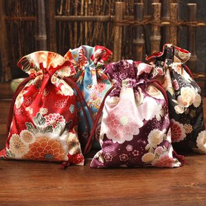 Latest Japanese style Printed Small Gift Bag Christmas Candy Bag Vintage Jewelry Packaging Pouch Wedding Party Favor Bags 10pcs
