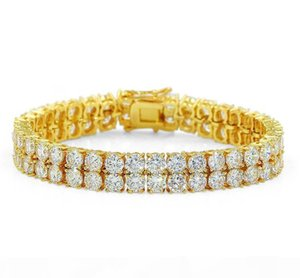 2018 18K Gold Plated Men Charm Simulated Diamond Miami Cuban Bracelets Iced Out Bling Rhinestone Chains Hip Hop Jewelry mens jewerly KKA1968