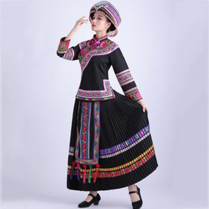 Women ethnic Traditional clothing folk Dance Costumes Women Miao embroidered flower Dress elegant Hmong party stage wear
