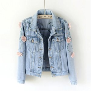 Women Slim Embroidered Three-dimensional Flowers Long Sleeve Denim Jacket Women's Jeans Coat Women denim jacket 201013