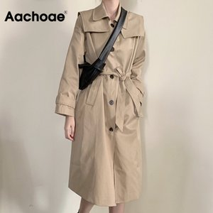 Повседневный дождевик aachoae 2020 Windshields корейских женщин носить длинные рукава пальто с пряжкой карманов