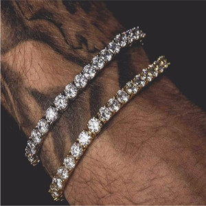 6mm 5mm 4mm 3mm Iced Out Tennis Bracelet Zirconia Triple Lock Hiphop Jewelry 1 Row Cubic Luxury Men Bracelets
