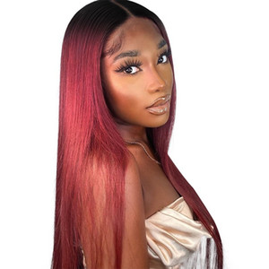 Bone Straight 4x4 Closure Wig Ombre Colors Human Hair Wigs Lace Front Full Short Bob Brazilian Pre Plucked Remy For Black Women