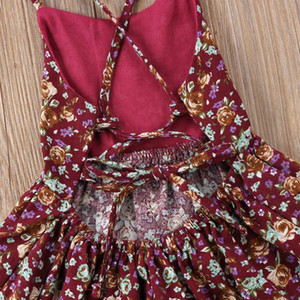 Summer Toddler Baby Girl Backless Bandages Dress Kid Floral Princess Party Wedding Holiday Dresses jlltpB