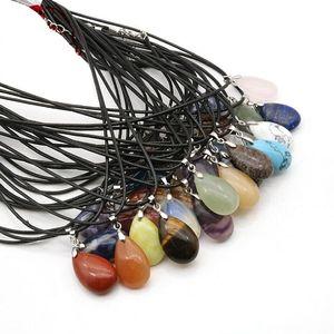 Natural Stone Pendants Necklaces Water Drop Shape Pendant Healing Crystals Amethyst Quartz Bead Chakra Healing Point Necklaces DWD2492