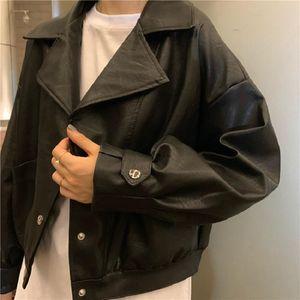 Stretwear jacket leather female autumn new Korea ins Harajuku vintage solid fashion loose short long sleeve casual women jacket
