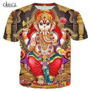 Hindou Ganesha Summer T-shirts 3D DIEU IMPRIMÉ DE SAGESSE GANESHA TSHIRT MEN FEMMES Femmes Sweat Hip Hop Hook HOP HOP HOP HARAJUKU T-shirt LJ200827