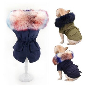 Warm Winter Clothes Luxury Fur Coat Hoodies for Small Medium Dog Windproof Pet Clothing Fleece Lined Puppy Jacket
