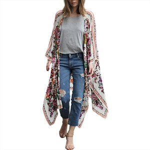 2020 plus size kimono cardigan casual summer blusa manga comprida feminina sexy women shirts and brands printing flower tops