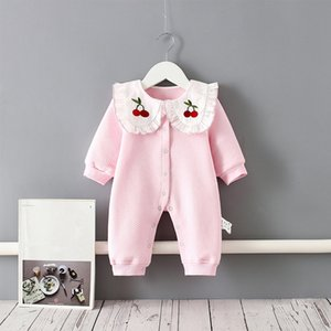2021 New Baby Clothes Newborn Winter Autumn Warm Peter Pan Collar Romper Girls Toddler Thick Embroidery Clothing for Infant Jumpsuit 0-2y Oq